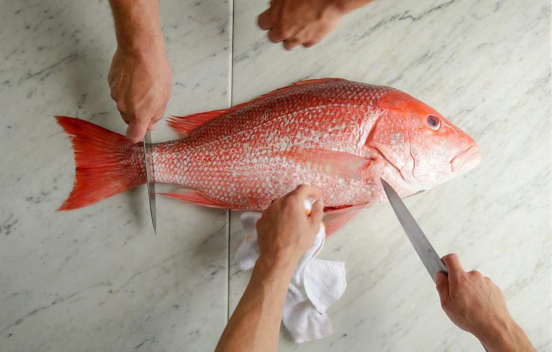 Cutting the fish